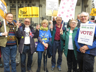 Group of West Suffolk Liberal Democrats at the Pu It To The People March 23rd March 2019